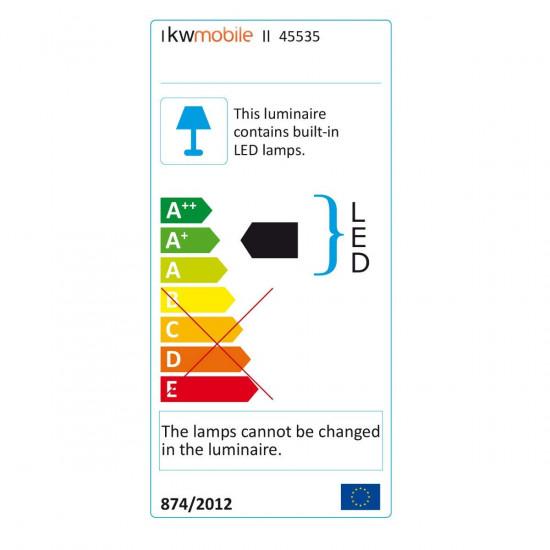 KW LED Folding Desk Lamp Επαναφορτιζόμενο Αναδιπλούμενο Μεταλλικό Φωτιστικό με καλώδιο Micro USB - Anthracite - 45535.73