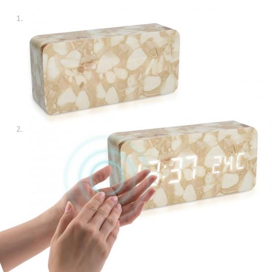 Kwmobile Digital Alarm LED Clock - Ψηφιακό Επιτραπέζιο Ρολόι και Ξυπνητήρι - Design Marble - White LED - 39179