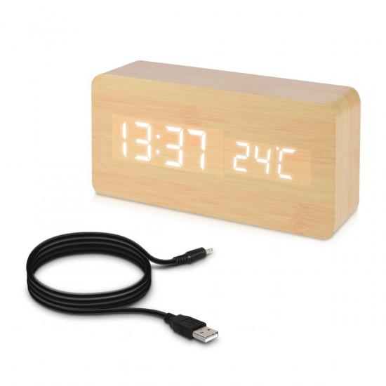 Kwmobile Digital Alarm LED Clock - Ψηφιακό Επιτραπέζιο Ρολόι και Ξυπνητήρι - Wooden Design - White LED - 38876