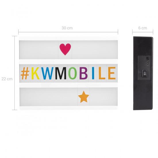 KW A4 Cinema Lightbox Πίνακας Μηνυμάτων LightBox με Φωτισμό LED RGB και 256 Γράμματα - Multicolor - 46221.01