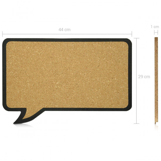 Navaris Cork Notice Board - Πίνακας Ανακοινώσεων με Πινέζες - Design Speech Bubble - Brown - Black - 41132