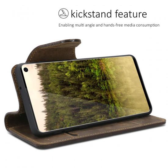 Kalibri Samsung Galaxy S10 Θήκη Πορτοφόλι Stand από Γνήσιο Δέρμα - Brown - 47453.05