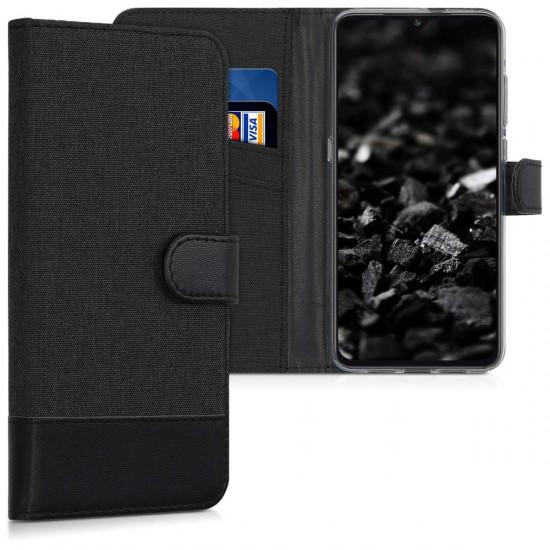 KW Xiaomi Mi 9 Θήκη Πορτοφόλι Stand Canvas - Anthracite / Black - 48280.73