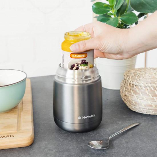Navaris Vacuum Insulated Food Jar Θερμός από Ανοξείδωτο Ατσάλι με Καπάκι-Δοχείο Για Φαγητό - 450ml - Dark Gray - 47325.1.19