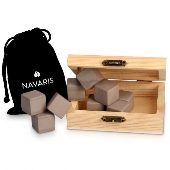 Navaris Set of 9 Whiskey Stones Σετ με 9 Παγάκια από Γρανίτη - Brown - 39922