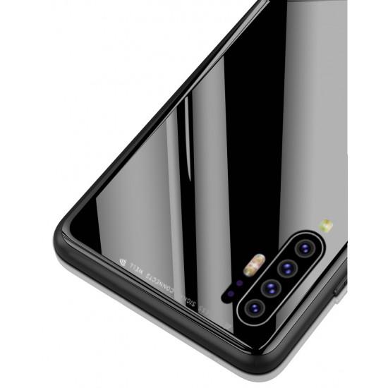 OEM Huawei P30 Pro Θήκη με Πλαίσιο Σιλικόνης και Όψη Γυαλιού Tempered Glass - Black