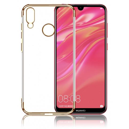 OEM Huawei Y7 2019 / Y7 Prime 2019 Electroplating Θήκη Σιλικόνης TPU - Gold - Διάφανη
