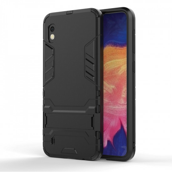 OEM Samsung Galaxy A10 Hybrid Armor Kickstand Case Σκληρή Θήκη Υψηλής Προστασίας με Πλαίσιο Σιλικόνης και Stand - Black