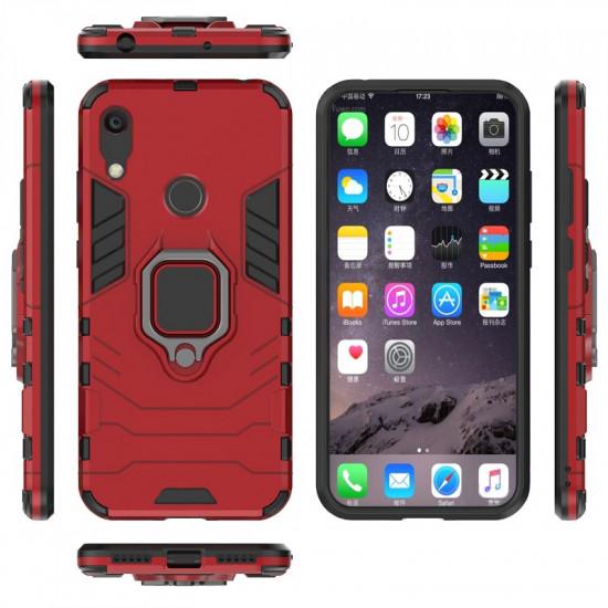 OEM Huawei Y6 2019 Rugged Armor Σκληρή Θήκη Υψηλής Προστασίας με Πλαίσιο Σιλικόνης και Δαχτυλίδι Συγκράτησης - Red