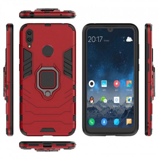 OEM Huawei Y7 2019 / Y7 Prime 2019 Rugged Armor Σκληρή Θήκη Υψηλής Προστασίας με Πλαίσιο Σιλικόνης και Δαχτυλίδι Συγκράτησης - Red