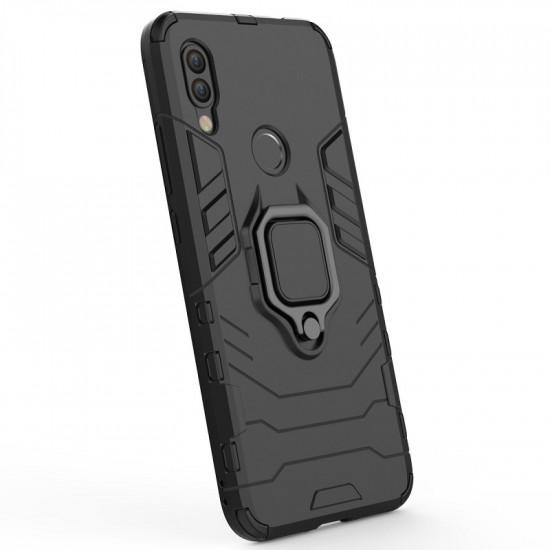 OEM Xiaomi Redmi 7 Rugged Armor Σκληρή Θήκη Υψηλής Προστασίας με Πλαίσιο Σιλικόνης και Δαχτυλίδι Συγκράτησης - Black