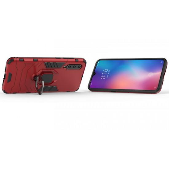OEM Xiaomi Mi 9 Rugged Armor Σκληρή Θήκη Υψηλής Προστασίας με Πλαίσιο Σιλικόνης και Δαχτυλίδι Συγκράτησης - Red
