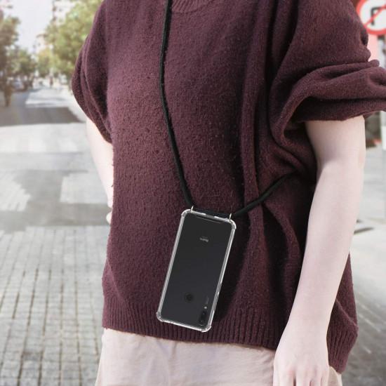 KW Xiaomi Redmi Note 7 Θήκη Σιλικόνης TPU με Λουράκι - Διάφανη / Black - 48702.01