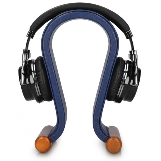 Navaris Βάση Ακουστικών από Ξύλο και Δερματίνη - Blue - 46418.04