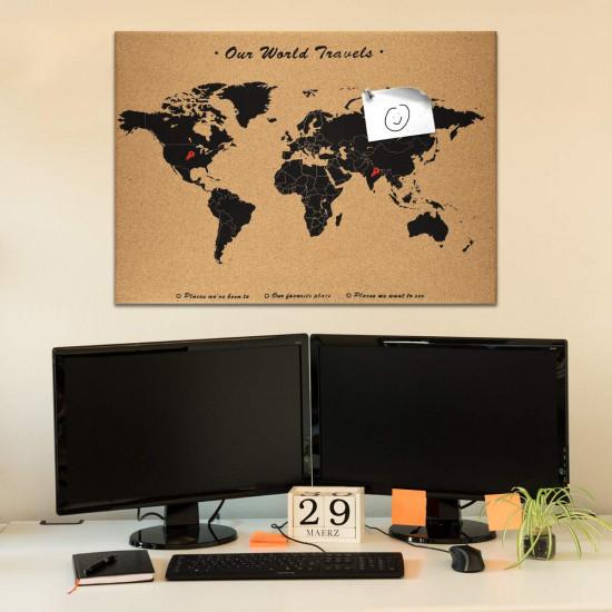 Navaris Cork Notice Board 70 x 50 cm - Πίνακας Ανακοινώσεων με Πινέζες - Design World Map - Brown - Black - 44347.01