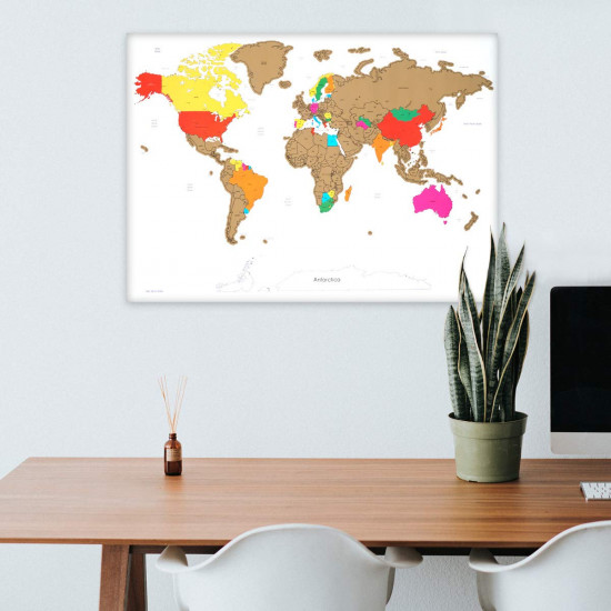 Navaris Scratch Off Μεγάλη Αφίσα με τον Παγκόσμιο Χάρτη - Περιλαμβάνει την Ξύστρα - 82 x 59 cm - White - 47795.02