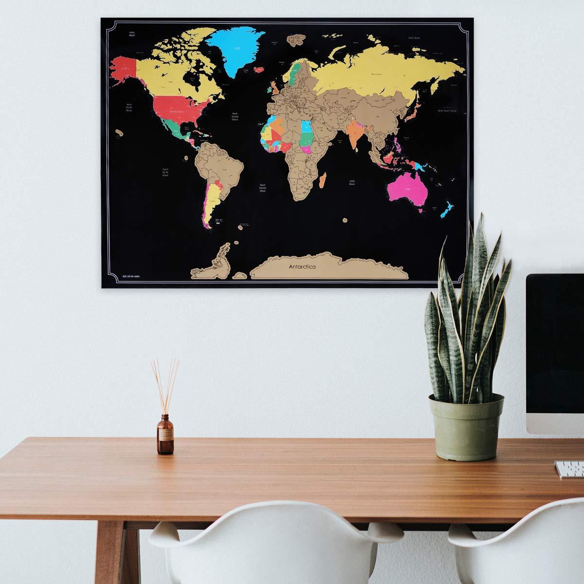 Navaris Scratch Off Μεγάλη Αφίσα με τον Παγκόσμιο Χάρτη Περιλαμβάνει την Ξύστρα 82 x 59 cm Black 47795.01